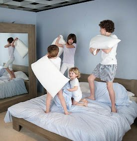 children jumping on bed foam bed