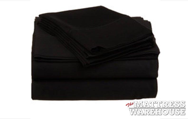 Pure Cotton 500 Thread Black Sheet Set - King Bed
