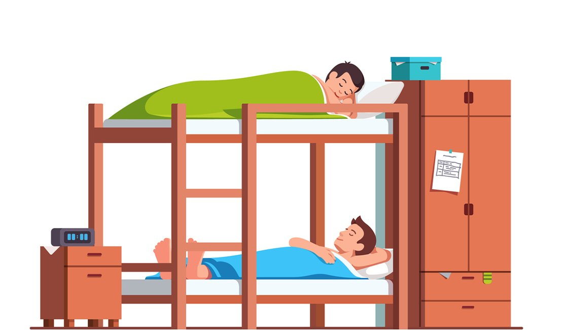 Illustration of people sharing a bunk bed