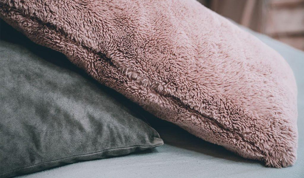 Velvet and fluffy pillow