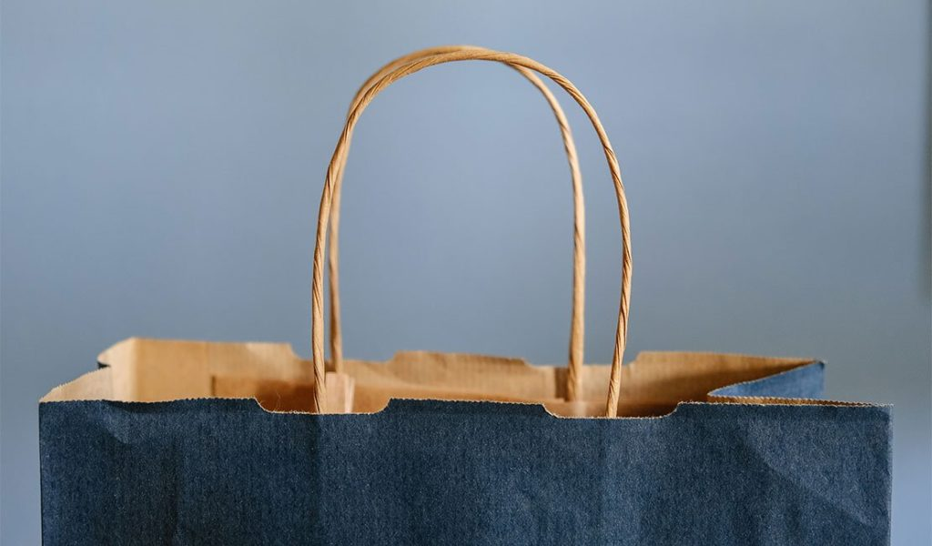 blue paper shopping bag