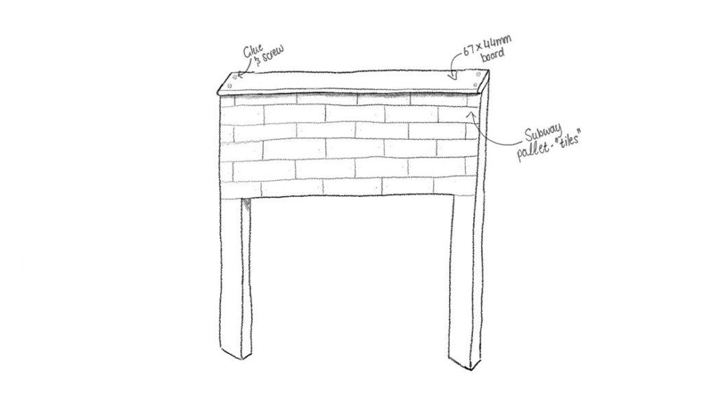 Finished pallet headboard frame illustrated
