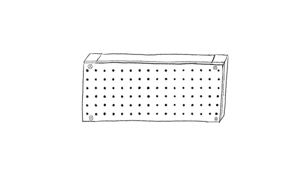 Upholstered headboard frame with pegboard attached