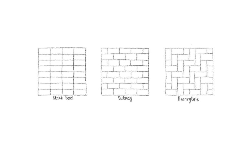 Stack bond, subway and herringbone styles illustrated