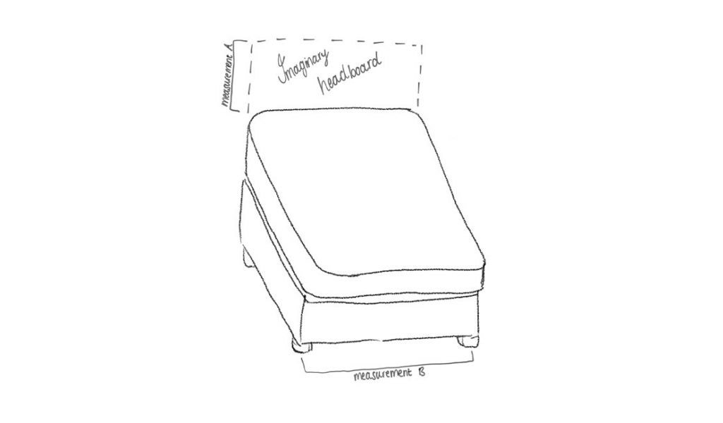 Mattress measurements for upholstered headboard illustrated