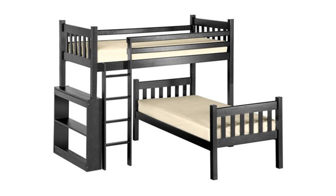 L-shaped bunk bed in dark coloured wood as part of our description of bunk bed sizes and shapes.