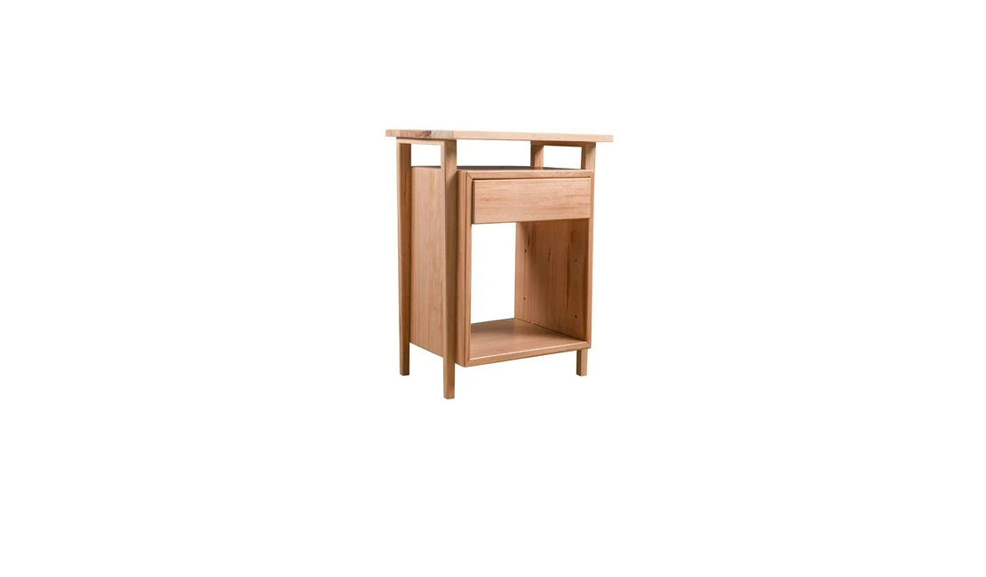 Hybrid bedside table with shelves and a drawer.