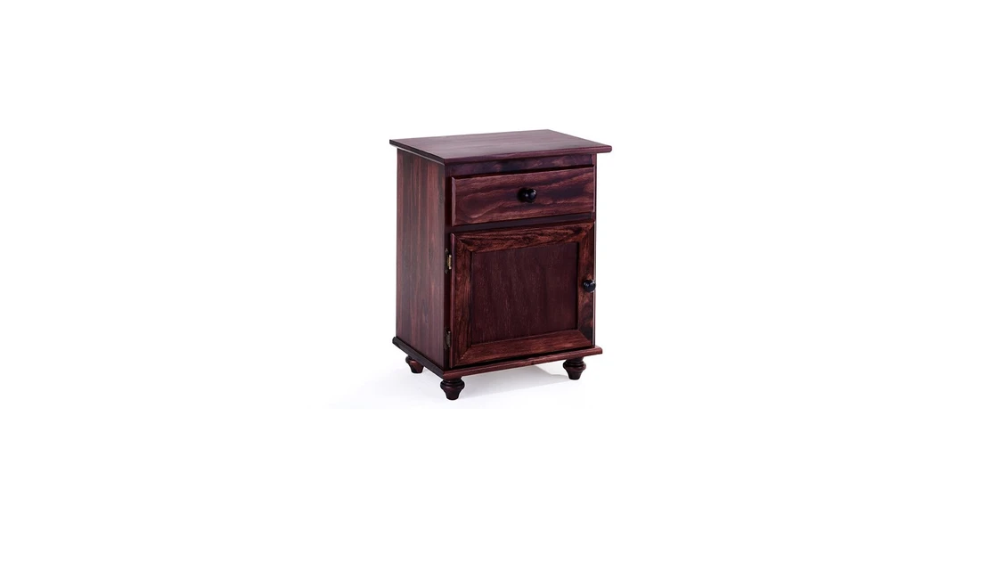 Chestnut cabinet-style bedside pedestals are beautiful.