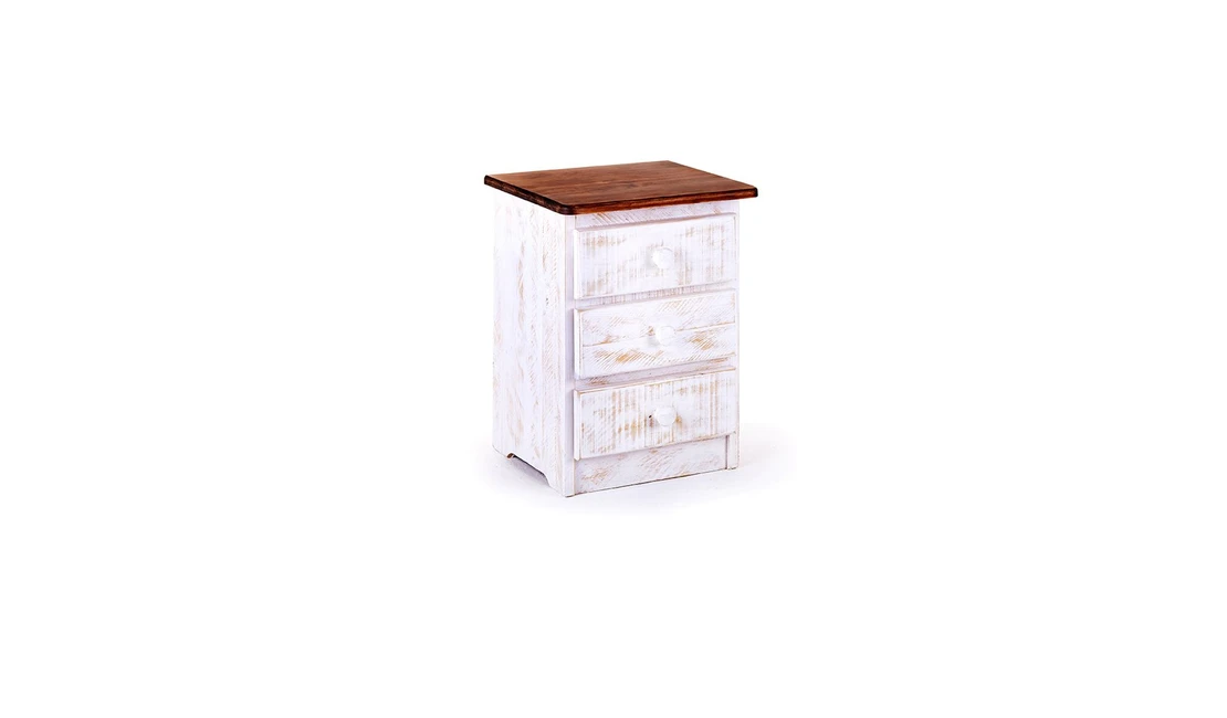 White bedside table with three drawers.