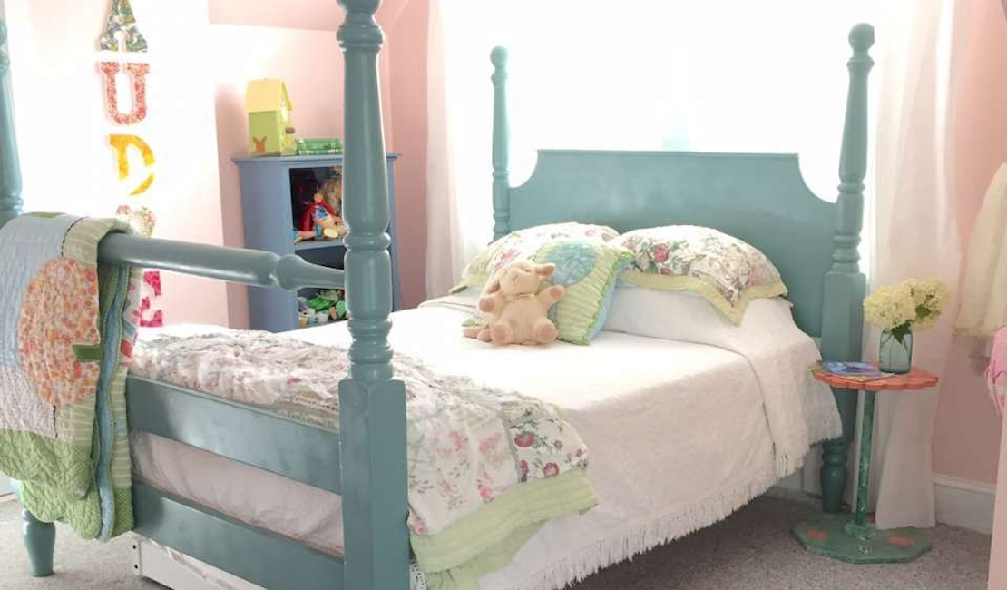 Four poster beds can make children's bedrooms feel like a fairytale.
