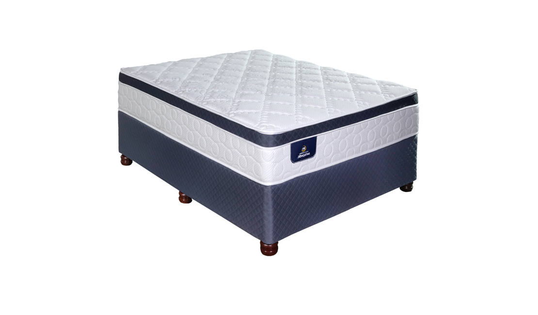 Serta Eminence beds are packed with amazing technology. And it is beautiful to boot, with its blue rim around the pillowtop and the quilted blue base.
