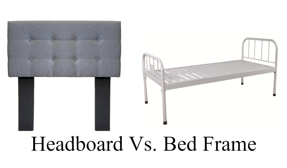 On the left is a typical tufted headboard covered in grey material. On the right side is a steel bed frame.