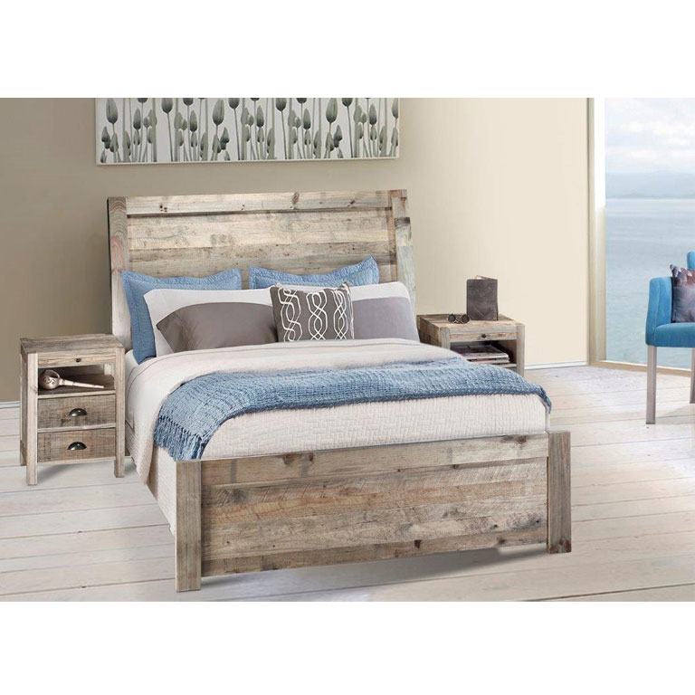 Antigua Bed with Caribbean Pedestals (Driftwood) - Double Bed