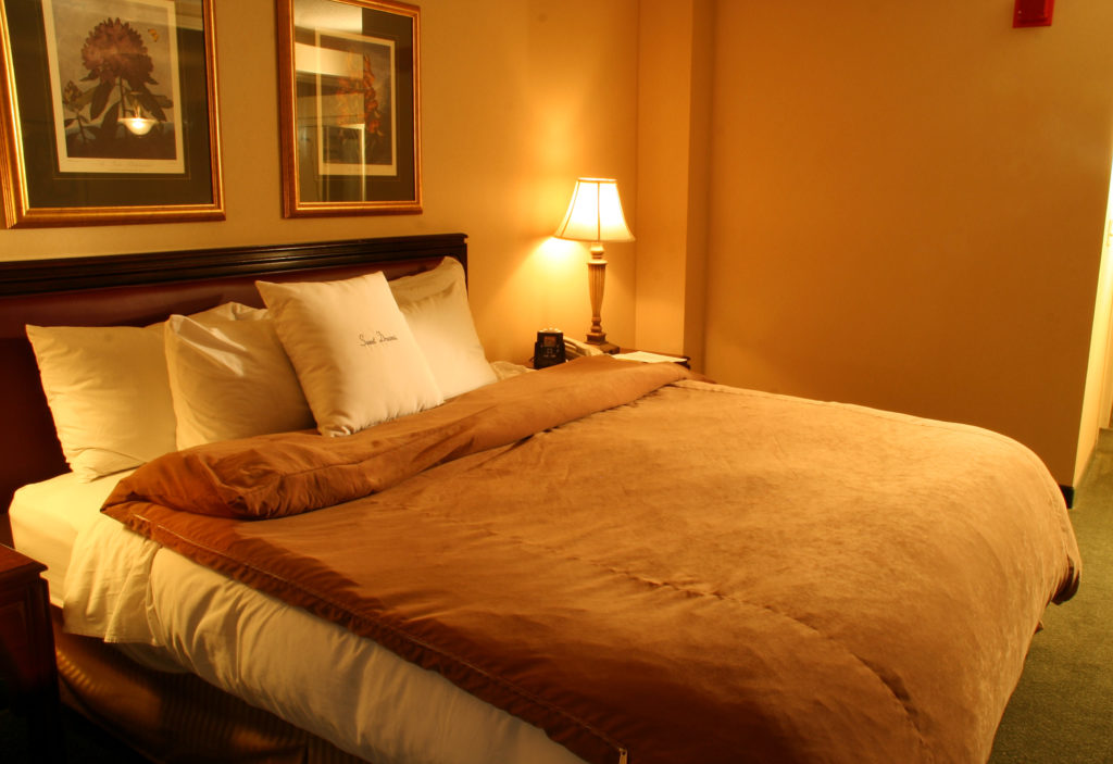 The colour of a bedroom and the colour of the bedding can make a big difference in the luxury of the bed