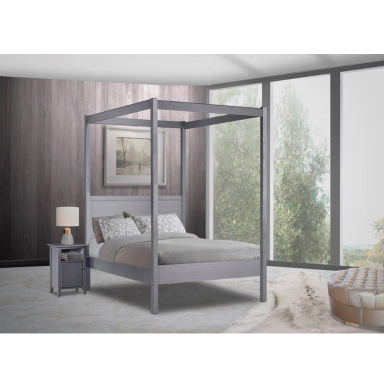 Janine 4 Poster Bed (Graphite) - Queen Bed