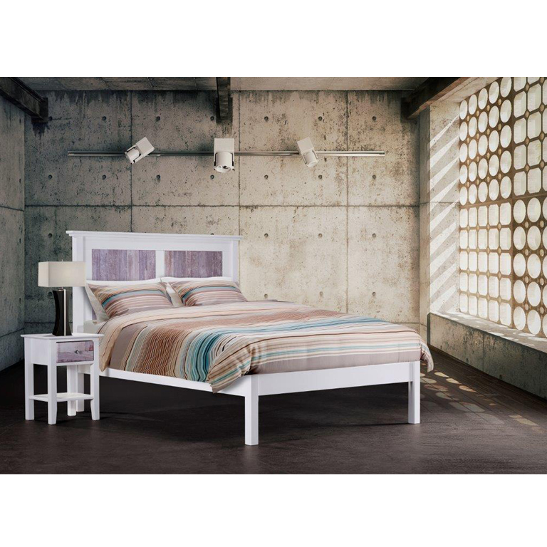 Oslo Bed (White wooded) - Queen Bed