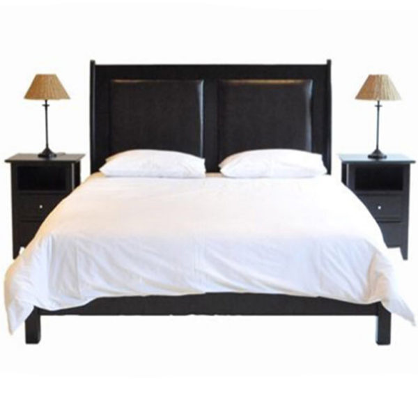 Paris Leather Bed (Mahogany) - Queen Bed