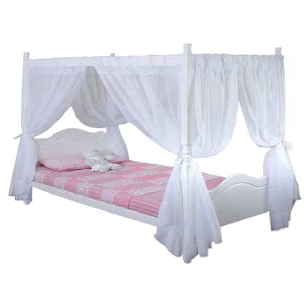 Princess 4 Poster Bed (White) - Single Bed
