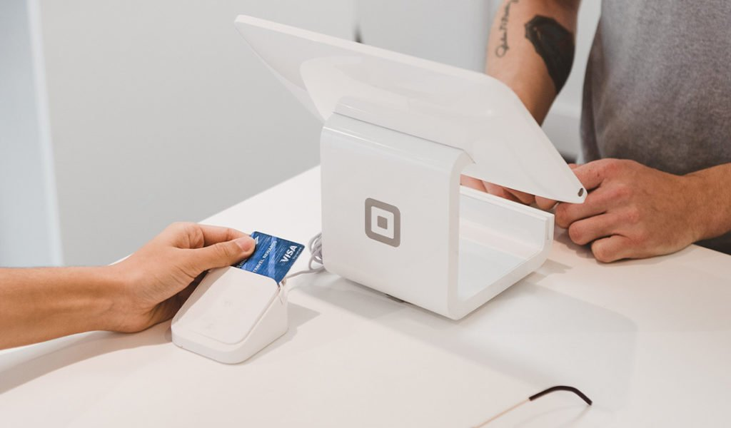 Person making a card payment