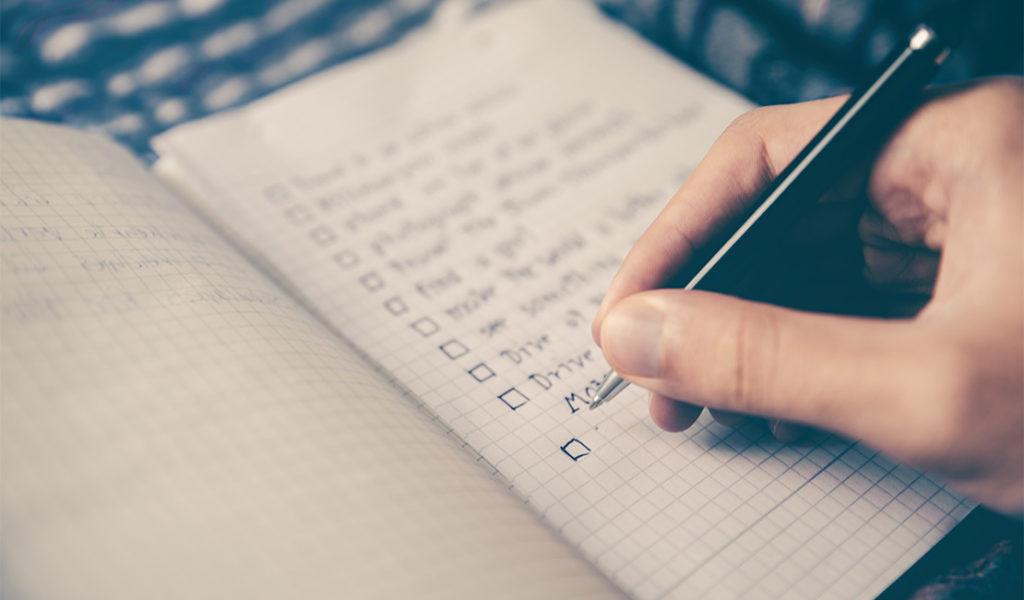 Hand writing a list