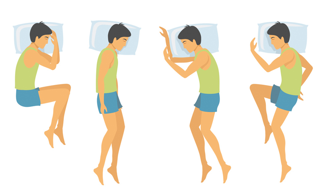 Side sleeping positions. From left to right: Foetus position, the Log position, the Yearner position, and modified yearner position. Man sleeping in different positions wearing blue and green pyjamas.